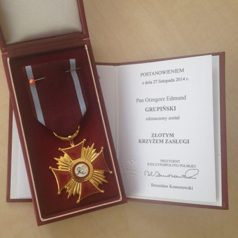 Złoty Krzyż Zasługi dla Grzegorza Grupińskiego